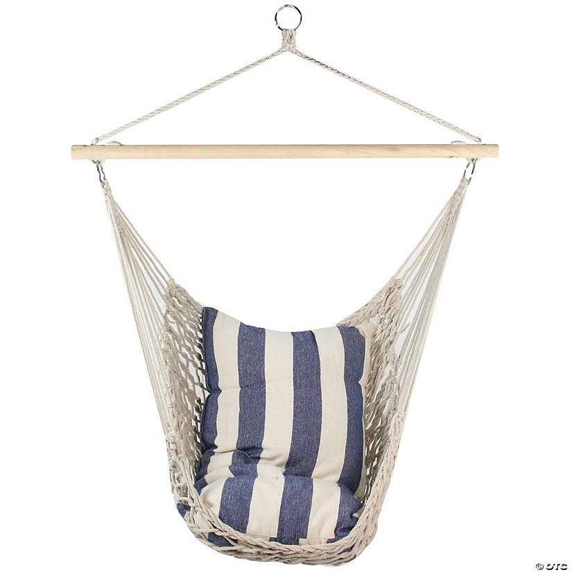 "Northlight 46"" White and Blue Striped Macrame Hammock Chair with Bar Image Thumbnail"