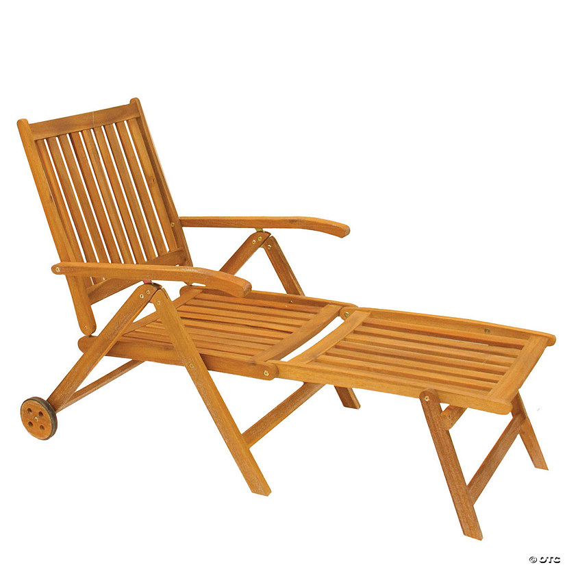 "Northlight 55"" Brown Acacia Wood Outdoor Patio Chaise Lounge Chair Image Thumbnail"