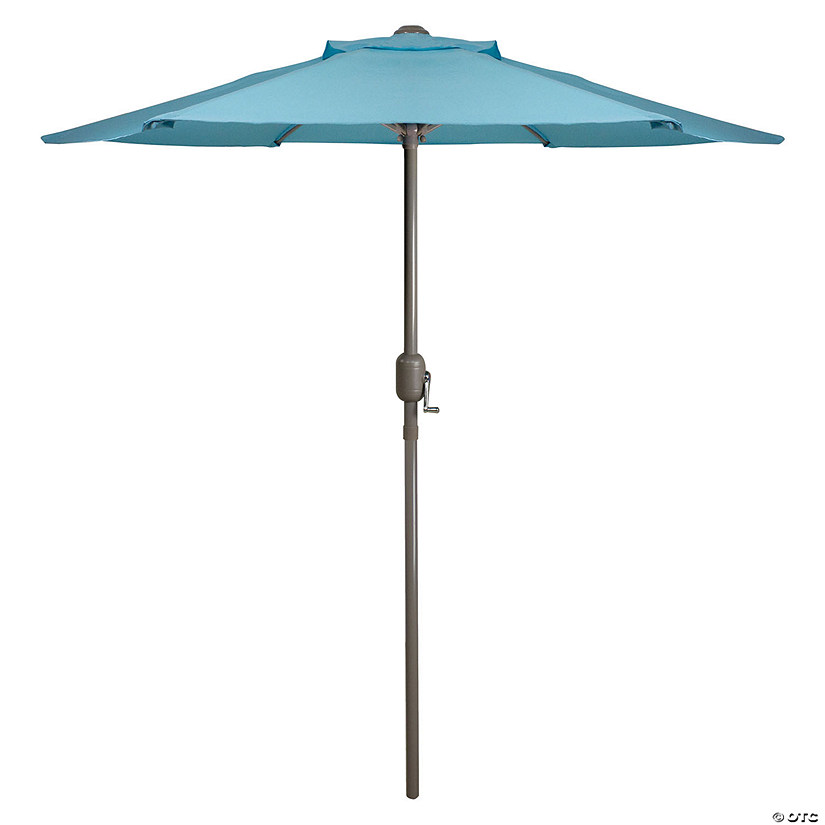 Northlight 6.5' Outdoor Patio Market Umbrella with Hand Crank - Turquoise Blue Image Thumbnail