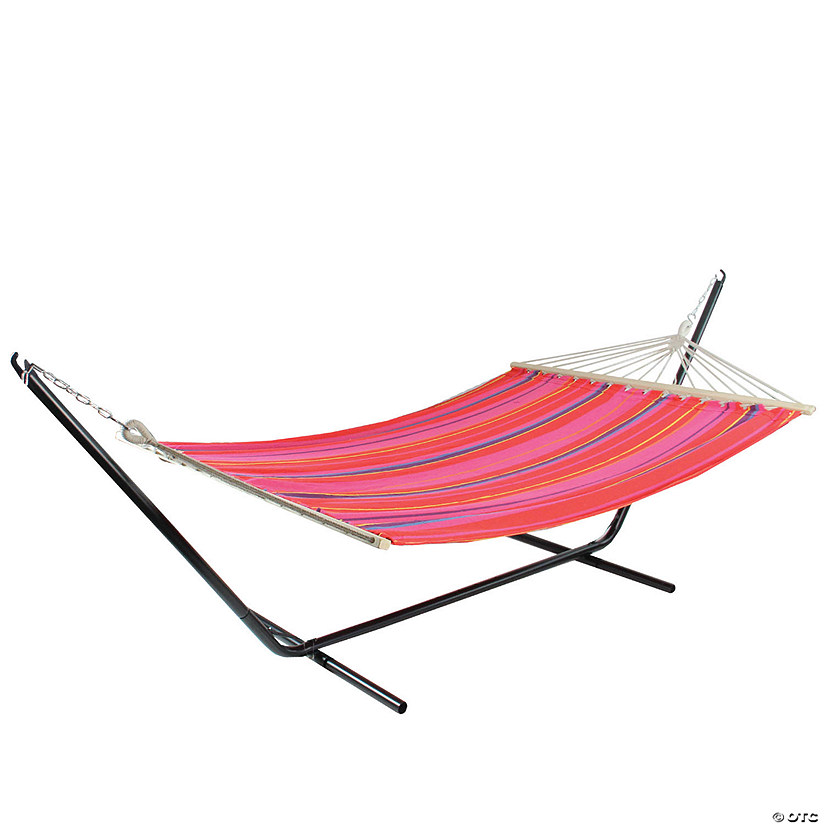 "Northlight 75"" Red and Pink Striped Poly Cotton Hammock Image Thumbnail"