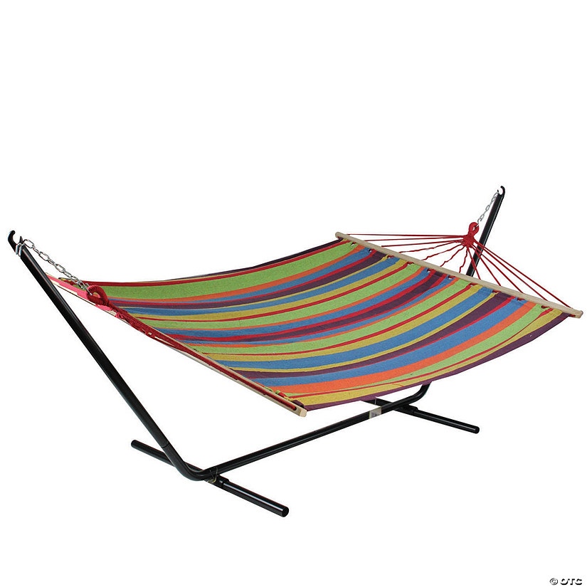 "Northlight 76"" Colorful Striped Double Hammock Image Thumbnail"