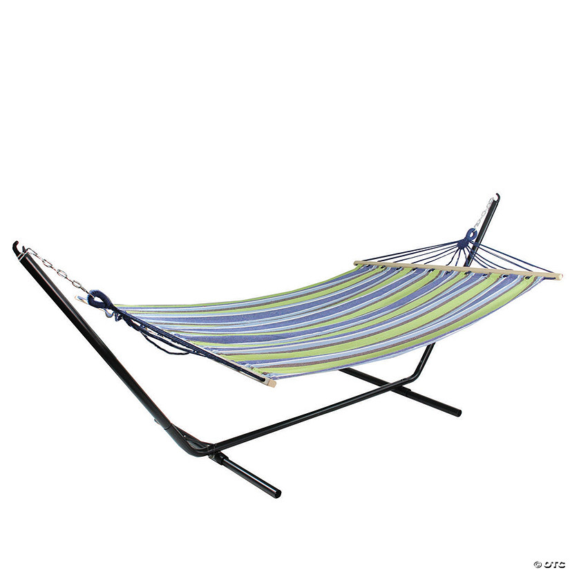 "Northlight 76"" Green and Blue Striped Double Seating Outdoor Hammock Image Thumbnail"