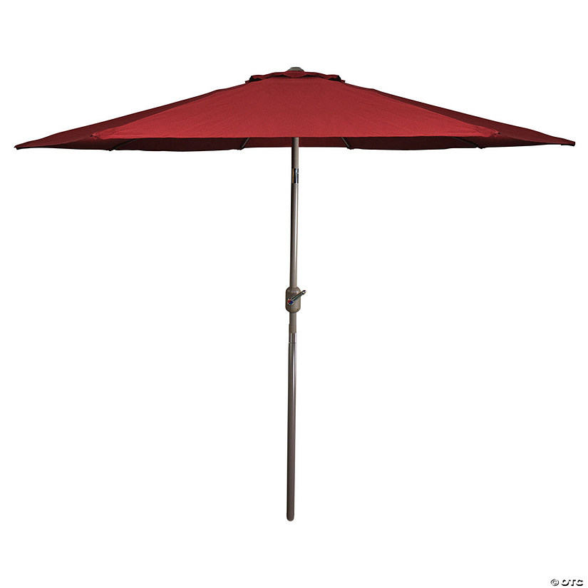 Northlight 9ft Outdoor Patio Market Umbrella with Hand Crank and Tilt  Burgundy Image Thumbnail