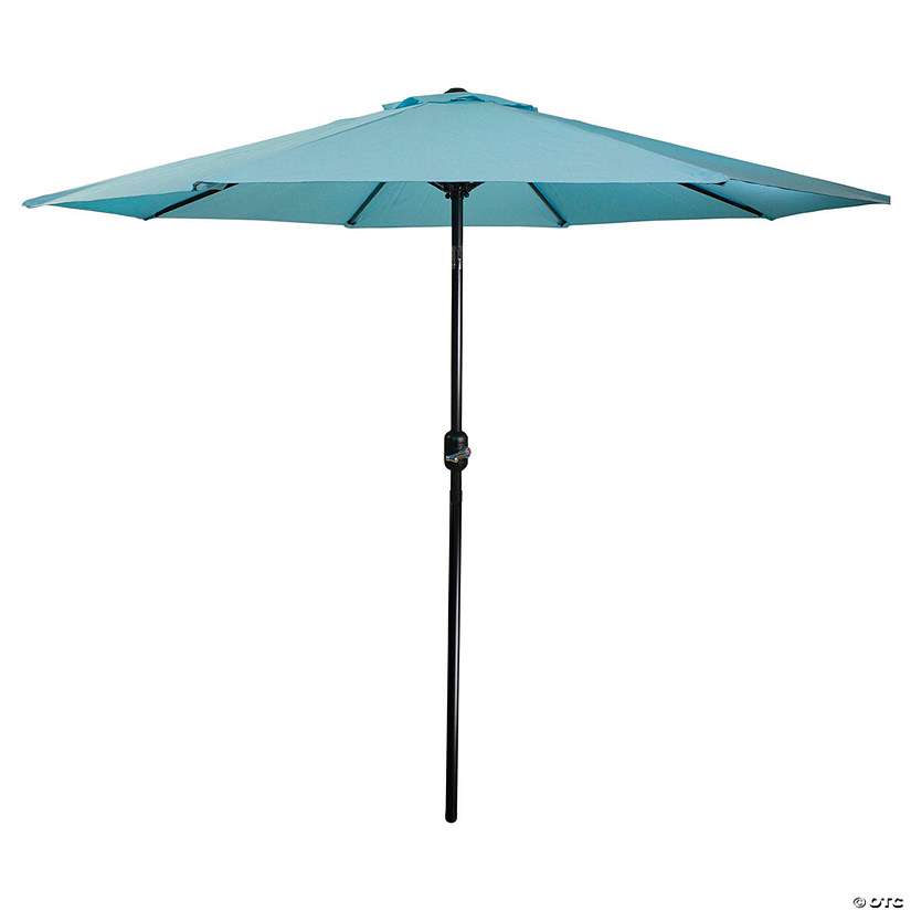 Northlight 9ft Outdoor Patio Market Umbrella with Hand Crank and Tilt  Turquoise Blue Image Thumbnail