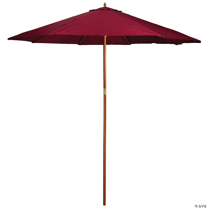 Northlight 9ft Outdoor Patio Market Umbrella with Wood Pole  Burgundy Image Thumbnail