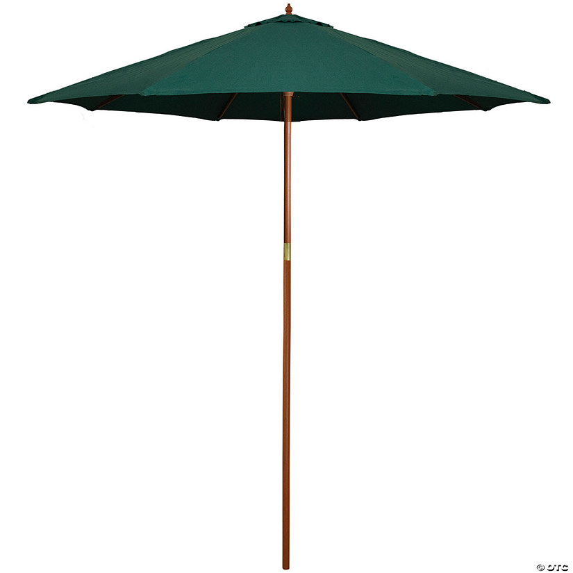 Northlight 9ft Outdoor Patio Market Umbrella with Wood Pole  Hunter Green Image Thumbnail