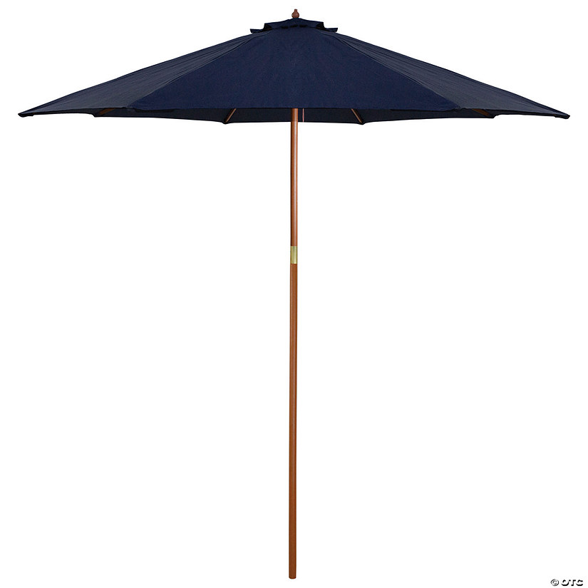 Northlight 9ft Outdoor Patio Market Umbrella with Wood Pole  Navy Blue Image Thumbnail