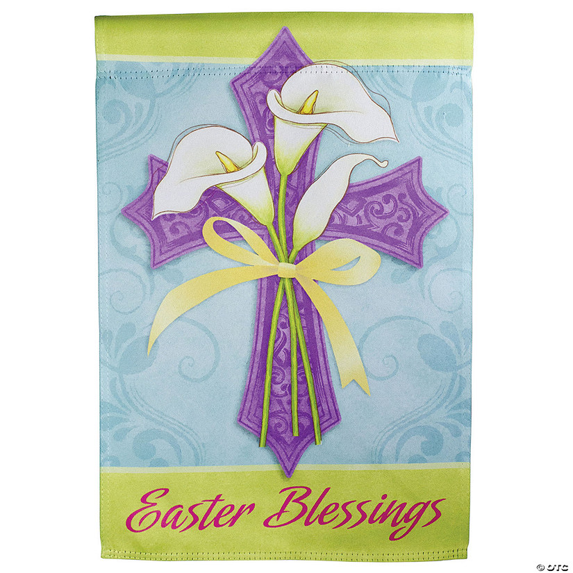 "Northlight Easter Blessings Cross and Lilies Outdoor Garden Flag 12.5"" x 18"" Image Thumbnail"