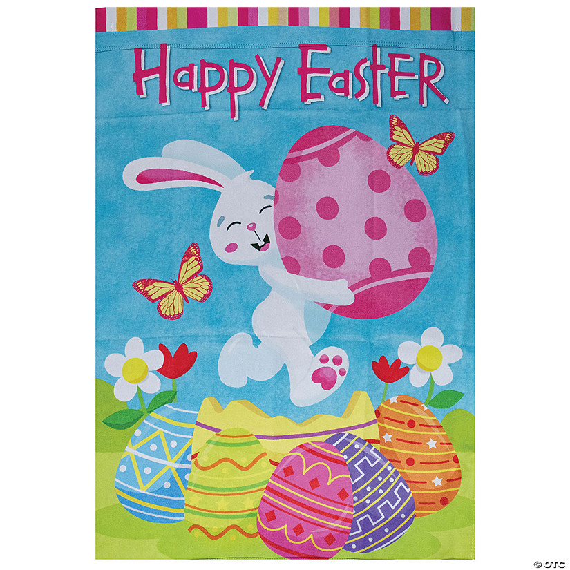 "Northlight Happy Easter Bunny with Eggs Outdoor House Flag 28"" x 40"" Image Thumbnail"
