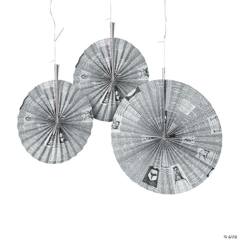 Old Newspaper Print Paper Hanging Fans Halloween Décor
