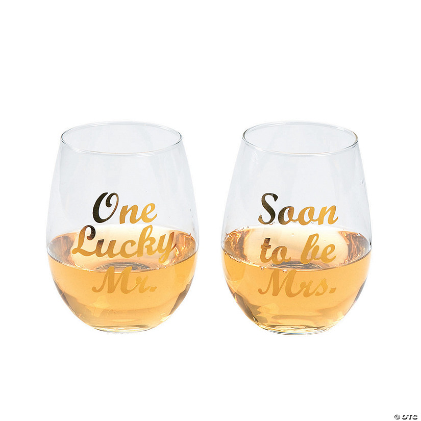 One Lucky Mr./Soon to be Mrs. Stemless Wine Glasses Audio Thumbnail