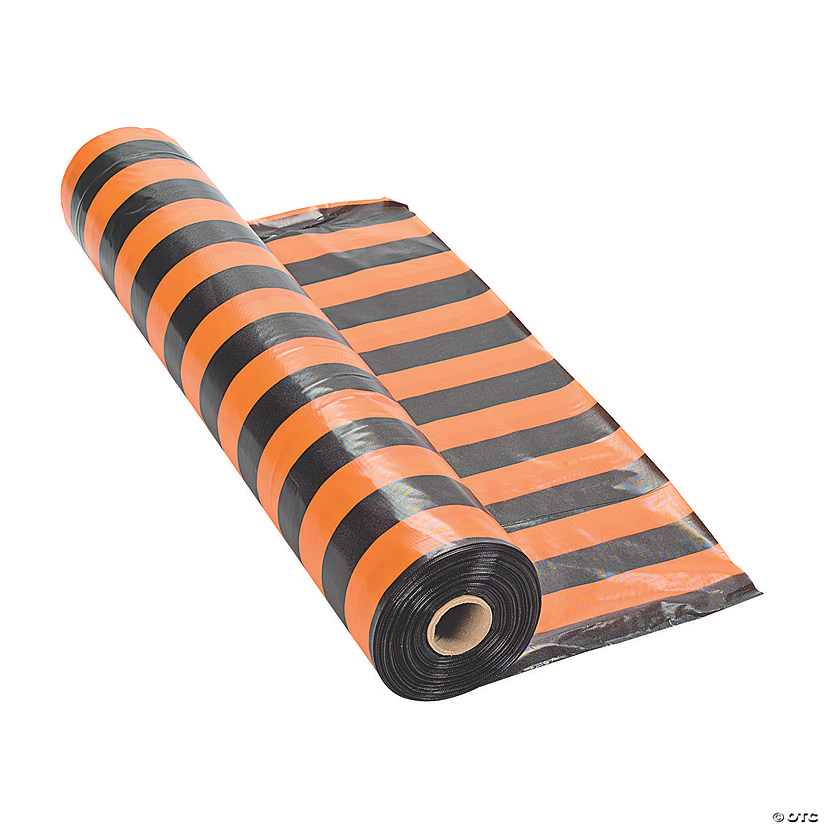 Orange & Black Striped Halloween Plastic Tablecloth Roll Audio Thumbnail