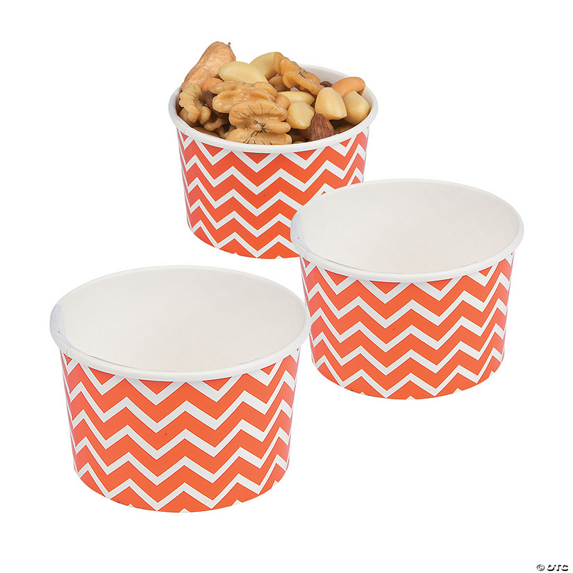Orange Chevron Snack Paper Bowls Image Thumbnail