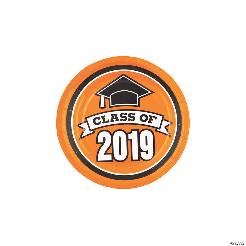 Orange Class of 2019 Paper Dessert Plates