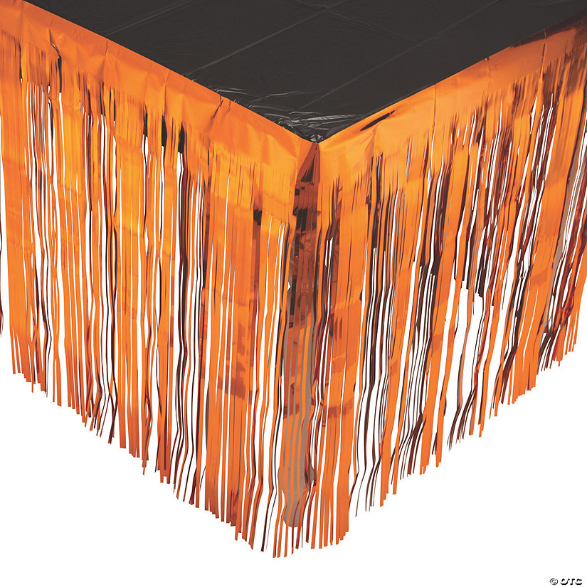 Orange Metallic Fringe Plastic Table Skirt Image Thumbnail