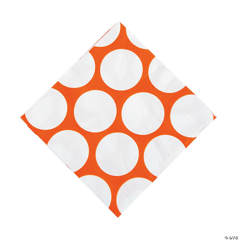 Orange Polka Dot Luncheon Napkins