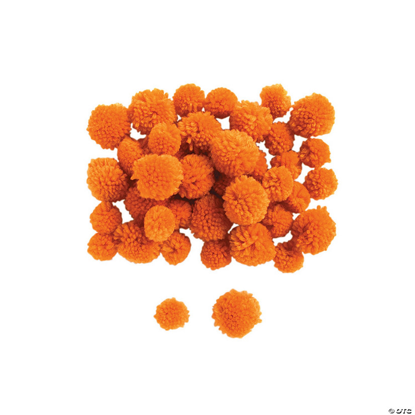 Orange Yarn Pom-Poms Image Thumbnail