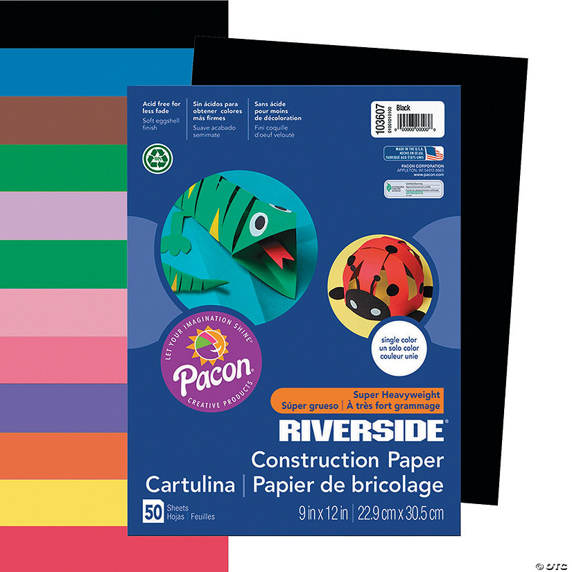 "Pacon® Riverside® 9"" x 12"" Heavyweight Construction Paper - 50 Sheets"
