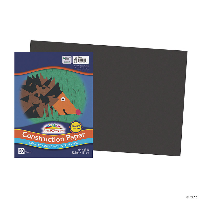 "Pacon® Riverside® Black 12"" x 18"" Heavyweight Construction Paper - 50 Sheets"