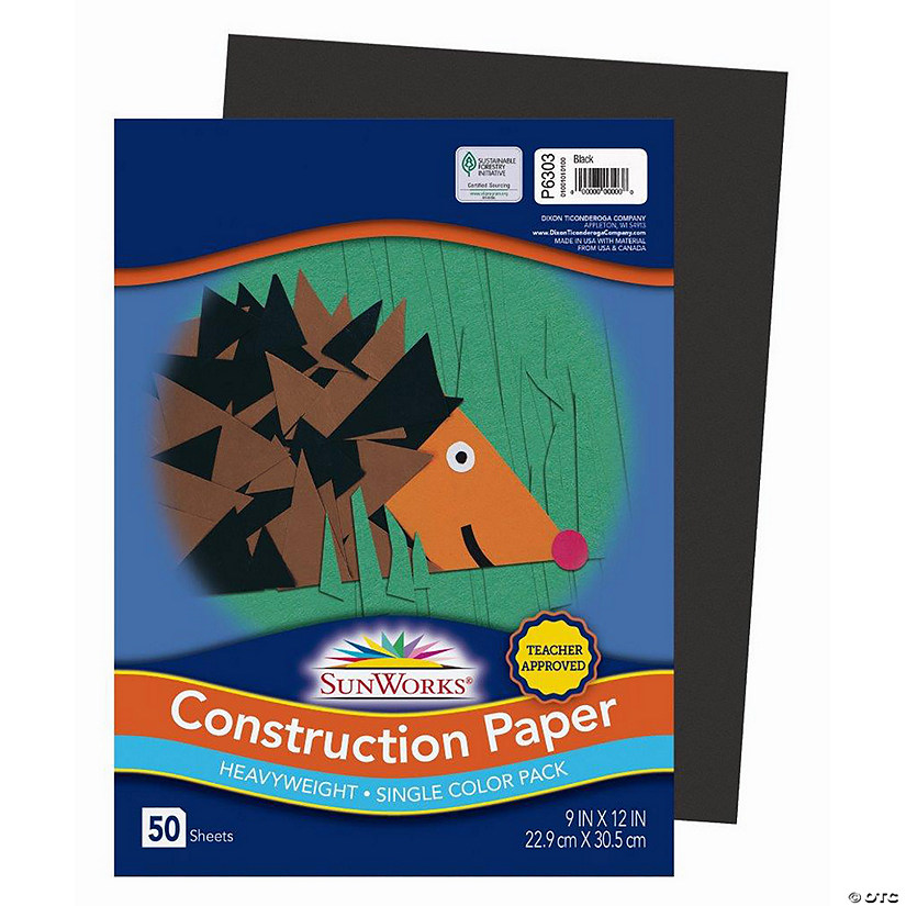 "Pacon® Riverside® Black 9"" x 12"" Heavyweight Construction Paper - 50 Sheets Audio Thumbnail"