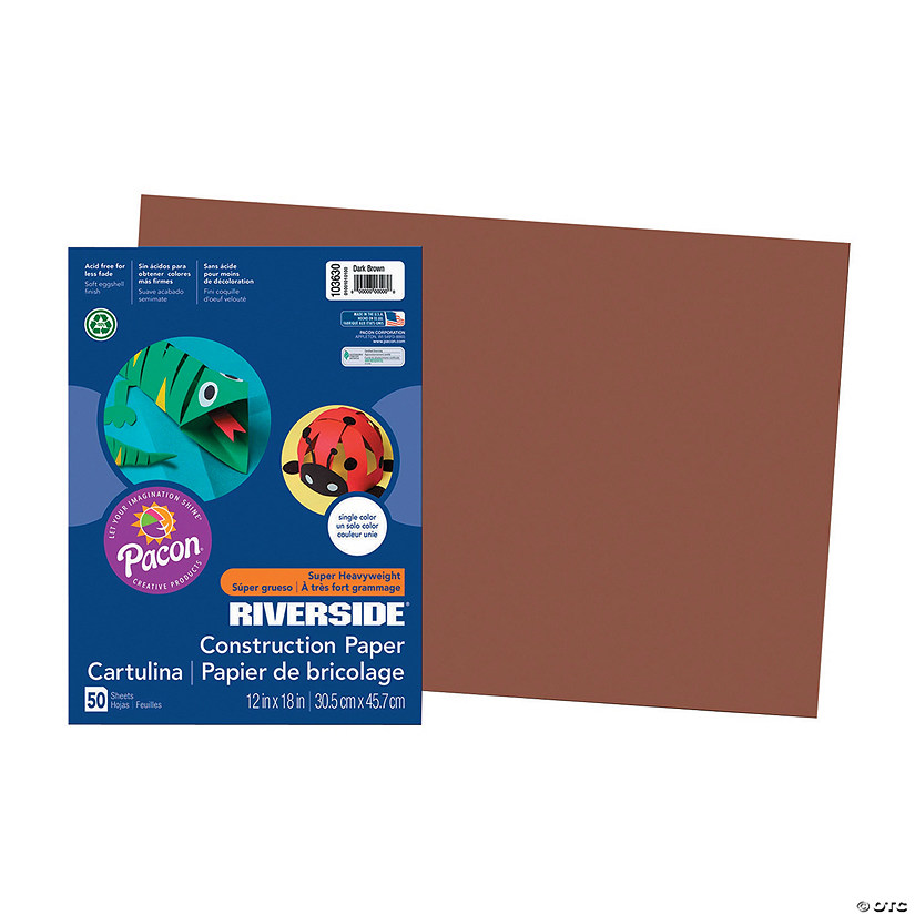 "Pacon® Riverside® Dark Brown 12"" x 18"" Heavyweight Construction Paper - 50 Sheets"