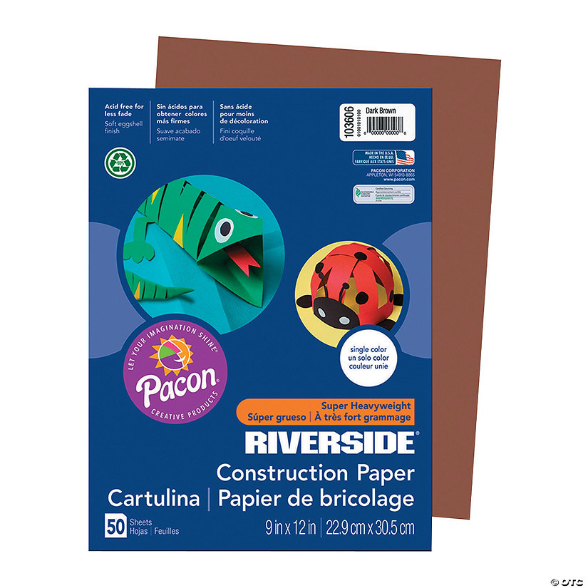 "Pacon® Riverside® Dark Brown 9"" x 12"" Heavyweight Construction Paper - 50 Sheets Audio Thumbnail"