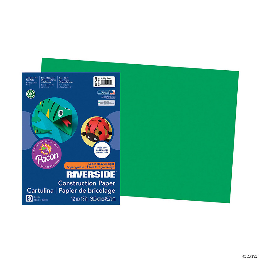 "Pacon® Riverside® Holiday Green 12"" x 18"" Heavyweight Construction Paper - 50 Sheets Audio Thumbnail"