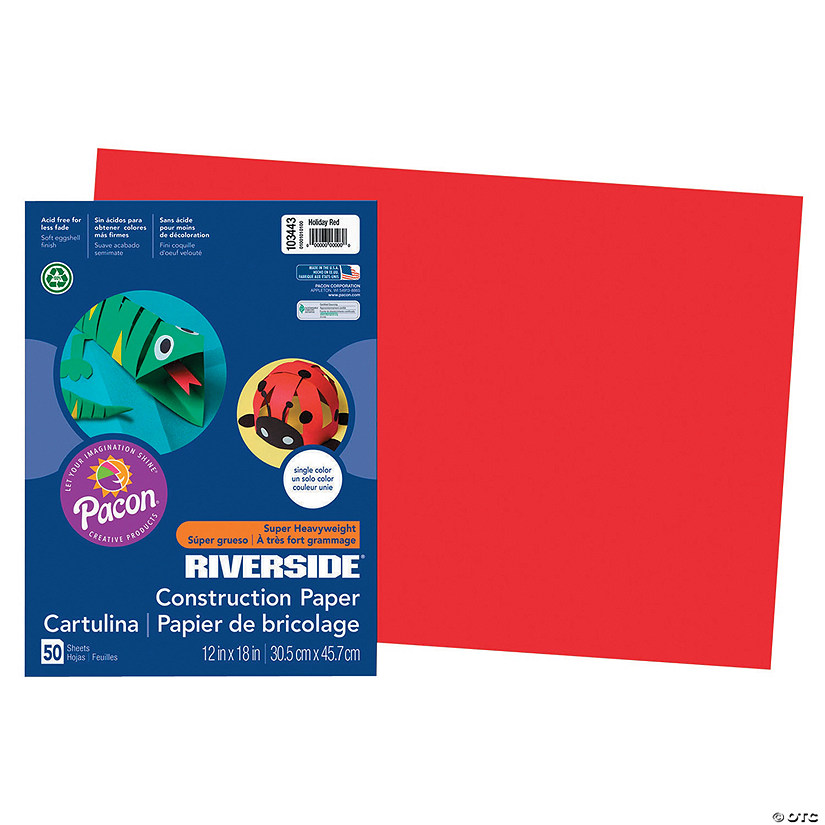 "Pacon® Riverside® Holiday Red 12"" x 18"" Heavyweight Construction Paper - 50 Sheets Audio Thumbnail"