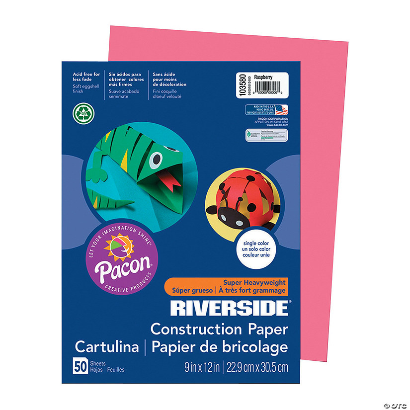 "Pacon® Riverside® Raspberry 9"" x 12"" Heavyweight Construction Paper - 50 Sheets Audio Thumbnail"