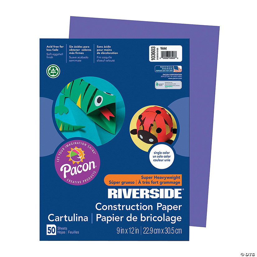 "Pacon® Riverside® Violet 9"" x 12"" Heavyweight Construction Paper - 50 Sheets"