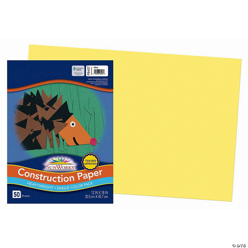 "Pacon® Riverside® Yellow 12"" x 18"" Heavyweight Construction Paper - 50 Sheets"