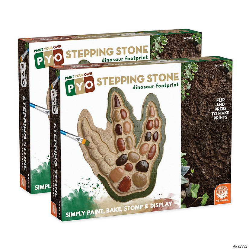 Paint Your Own Stepping Stone: Dinosaur Footprints Set of 2 Image Thumbnail
