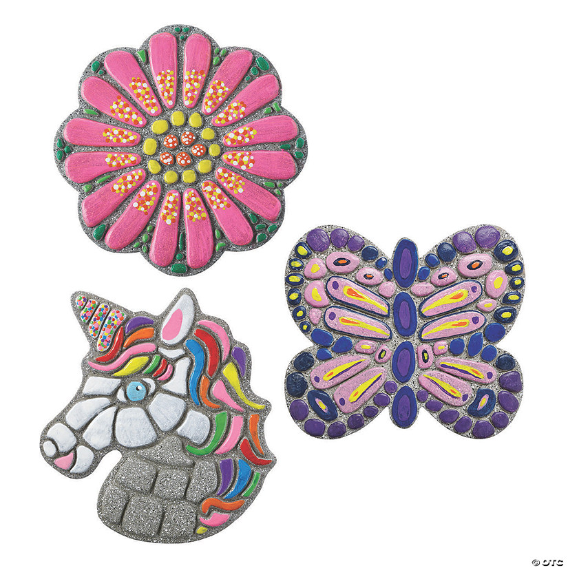 Paint Your Own Stepping Stones: Flower, Unicorn & Butterfly Set of 3 Audio Thumbnail