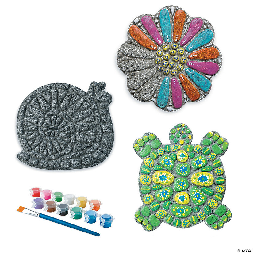 Paint Your Own Stepping Stones: Snail, Flower & Turtle: Set of 3