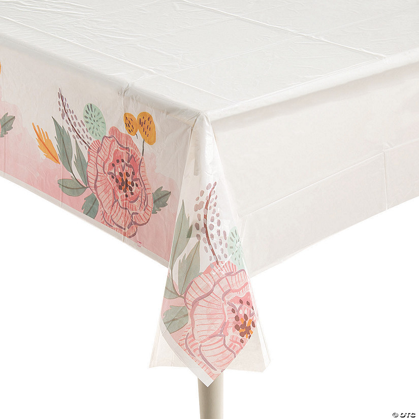 Painted Floral Plastic Tablecloth