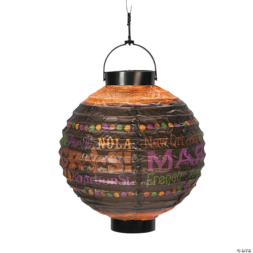 Party Gras Printed Light-Up Hanging Paper Lanterns Audio Thumbnail