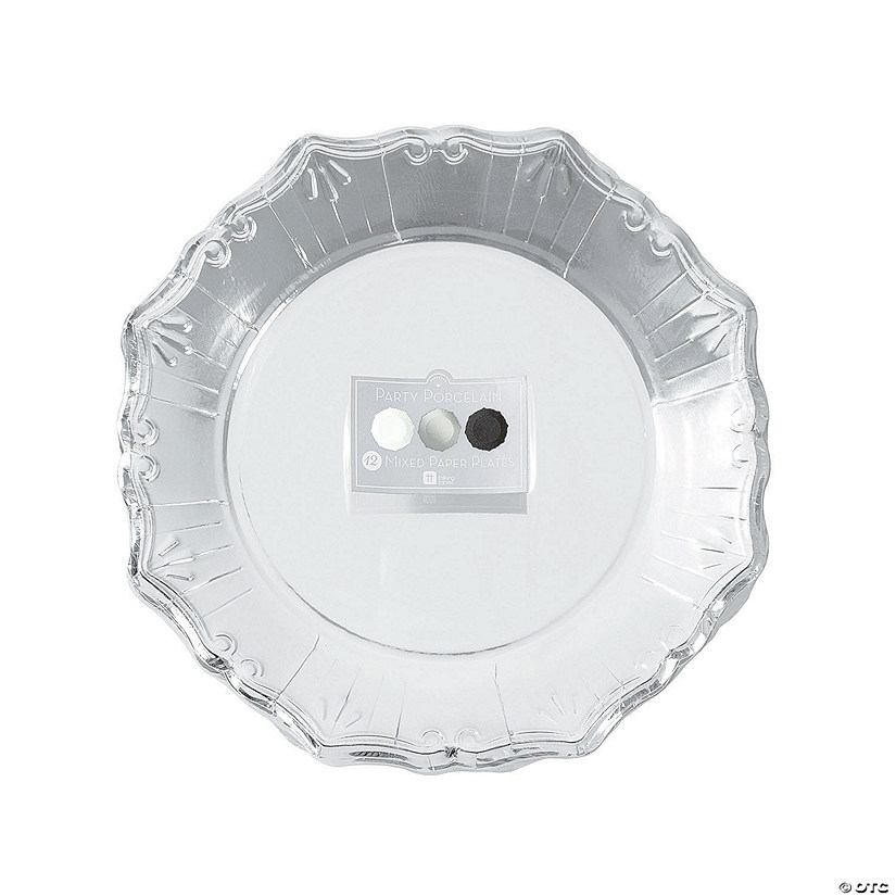 Party Porcelain Silver, White & Black Paper Dinner Plates Audio Thumbnail