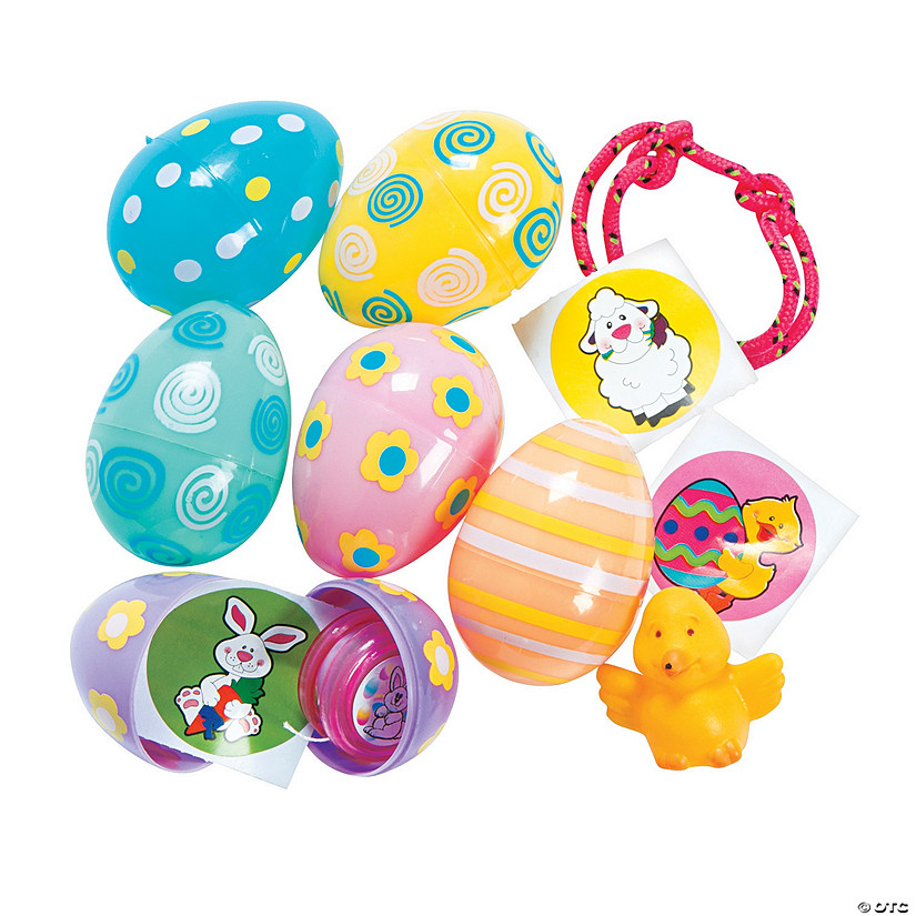 Pastel Patterned Toy-Filled Plastic Easter Eggs - 24 Pc. Audio Thumbnail