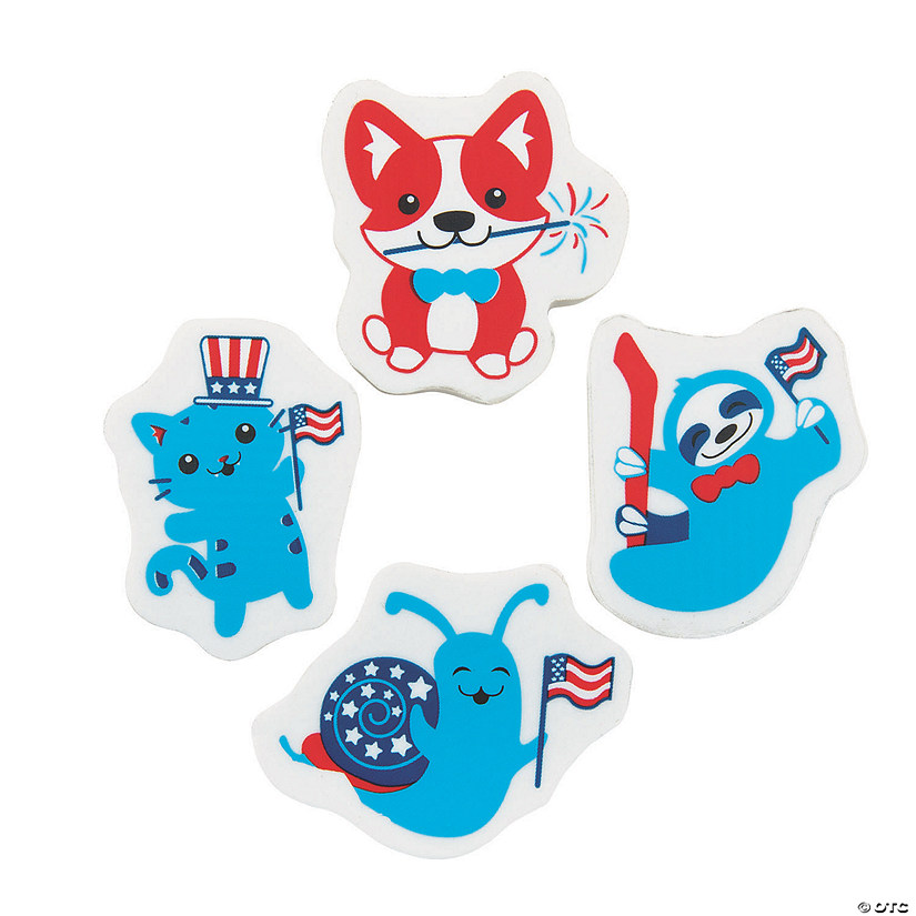 Patriotic Animal Erasers Image Thumbnail
