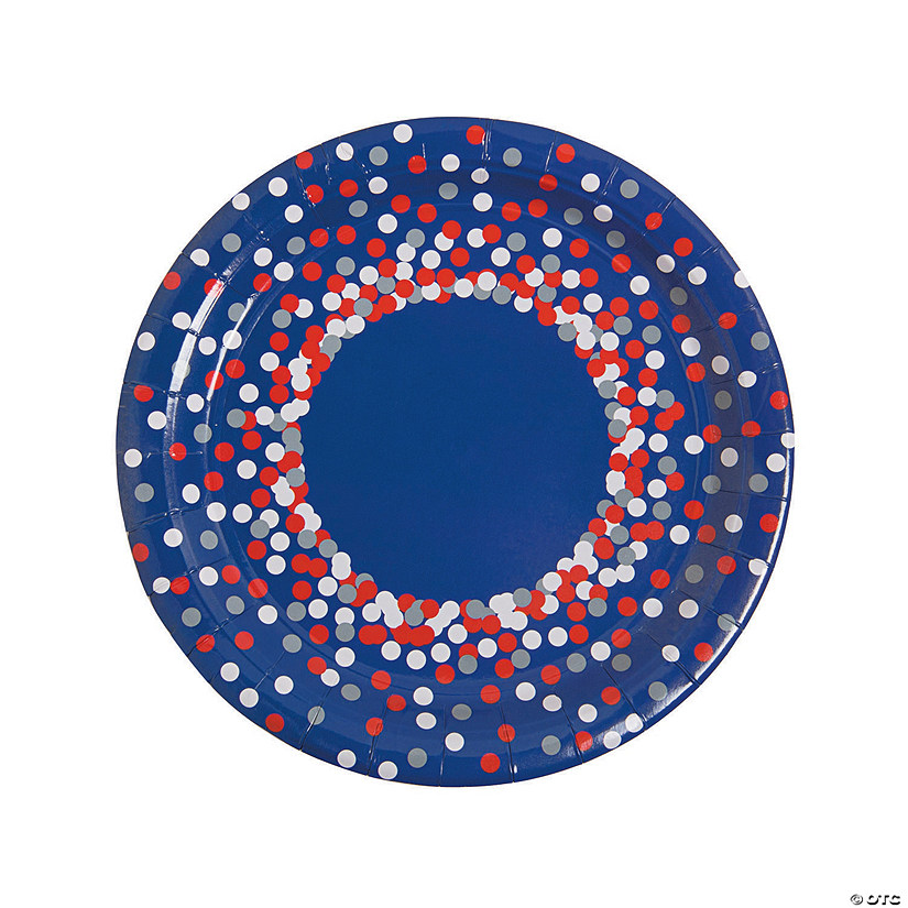 Patriotic Confetti Paper Dinner Plates - 8 Ct. Audio Thumbnail