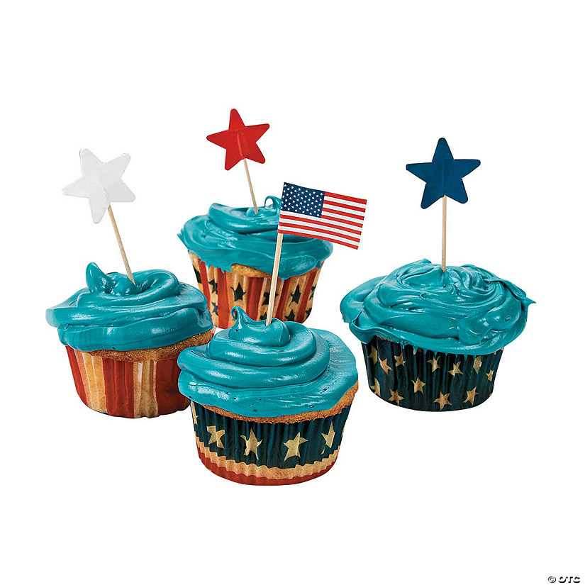 Patriotic Cupcake Liners with Picks Image Thumbnail