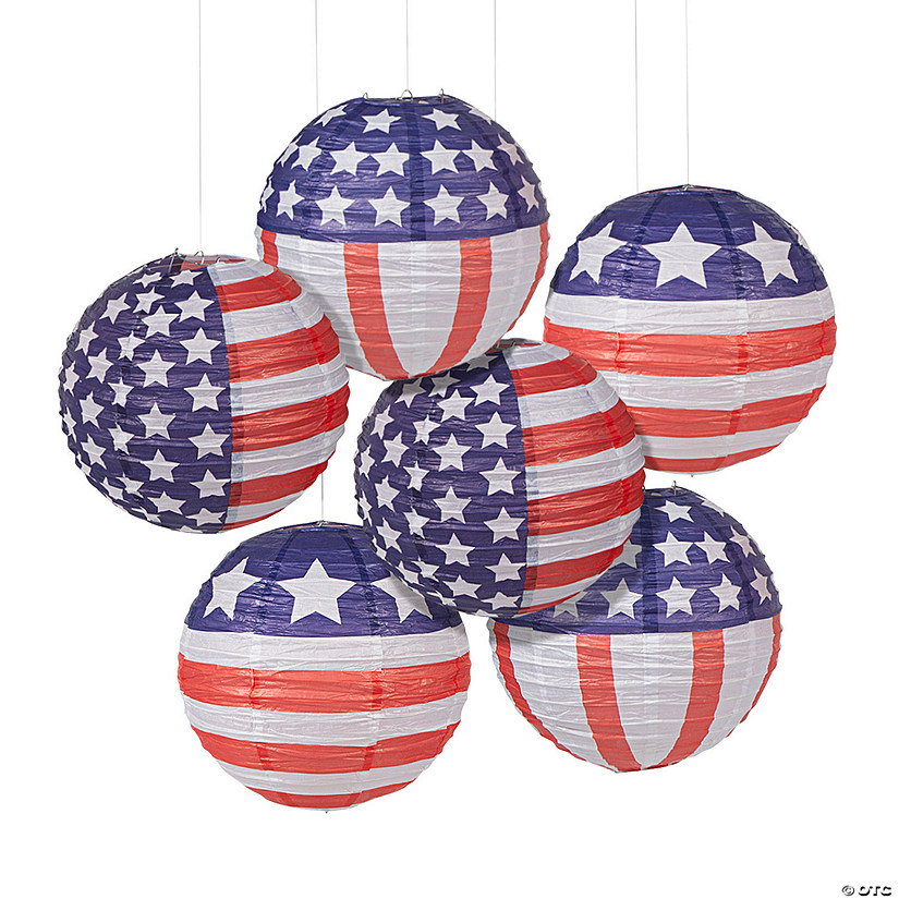 Patriotic Flag Hanging Paper Lanterns