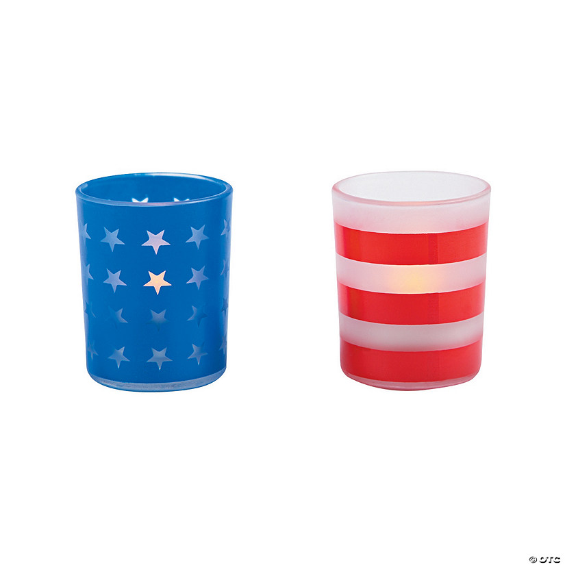 Patriotic Frosted Print Votive Holders