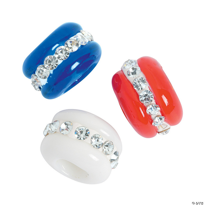 Patriotic Large Hole Beads with Rhinestones