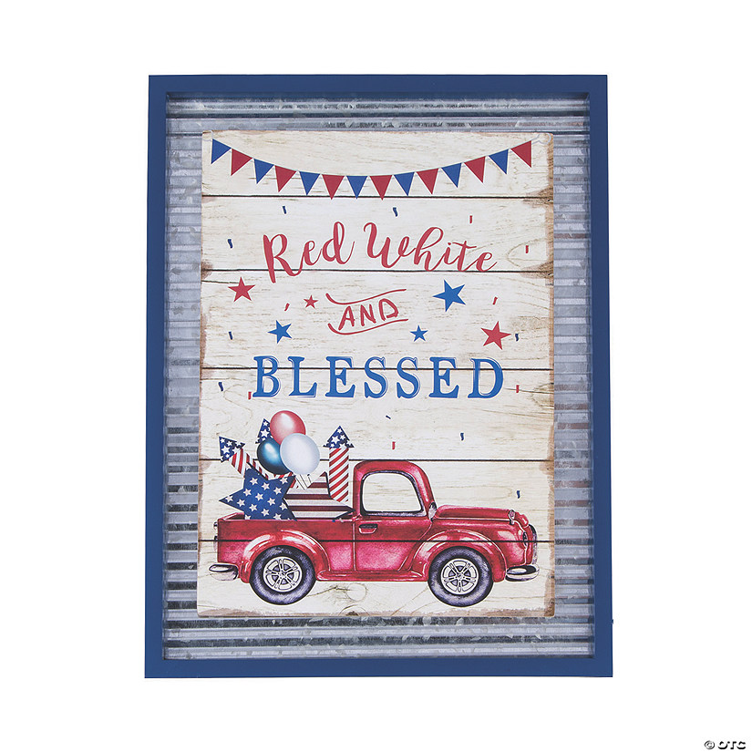 Patriotic Red White & Blessed Wall Sign Image Thumbnail
