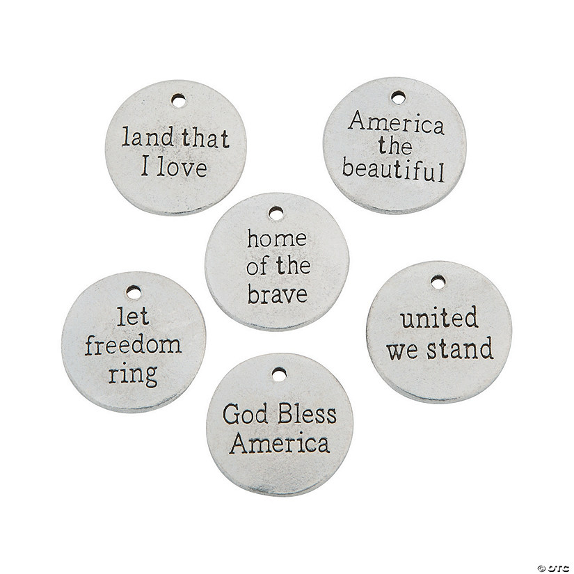 Patriotic Sayings Silvertone Charms