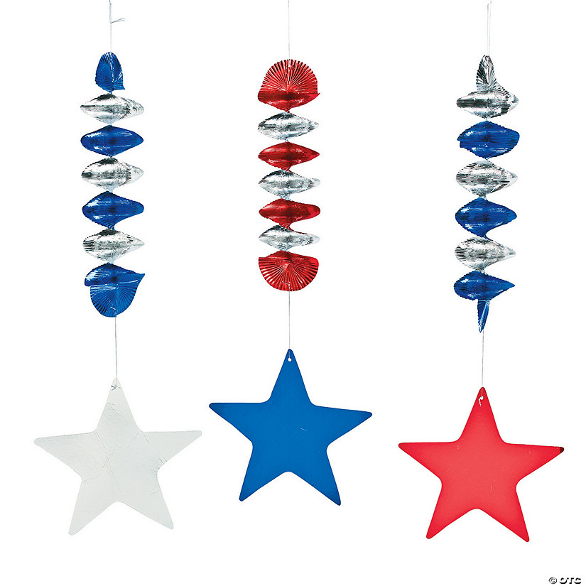 Patriotic Stars Hanging Spiral Decorations - 12 Pc. Audio Thumbnail
