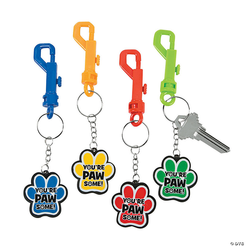 Paw Print Motivational Backpack Clip Keychains