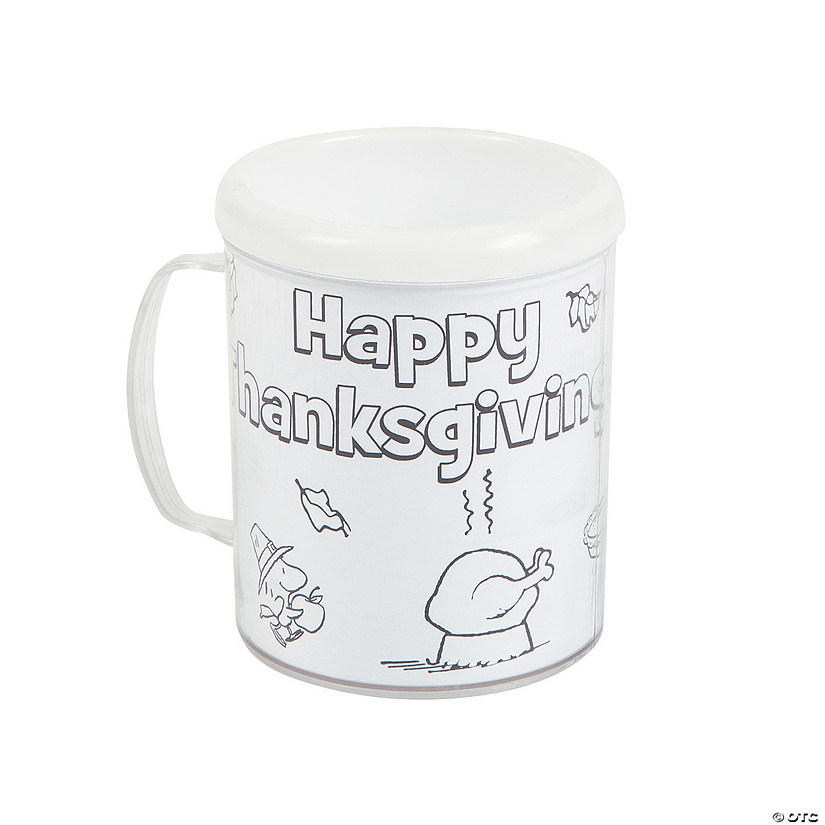 Peanuts® Color Your Own Thanksgiving Plastic Mugs Audio Thumbnail