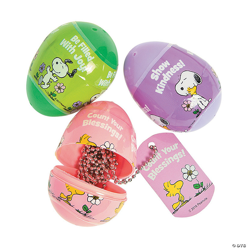Peanuts<sup>&#174;</sup> Inspirational Dog Tag Necklace-Filled Plastic Easter Eggs - 12 Pc. Audio Thumbnail